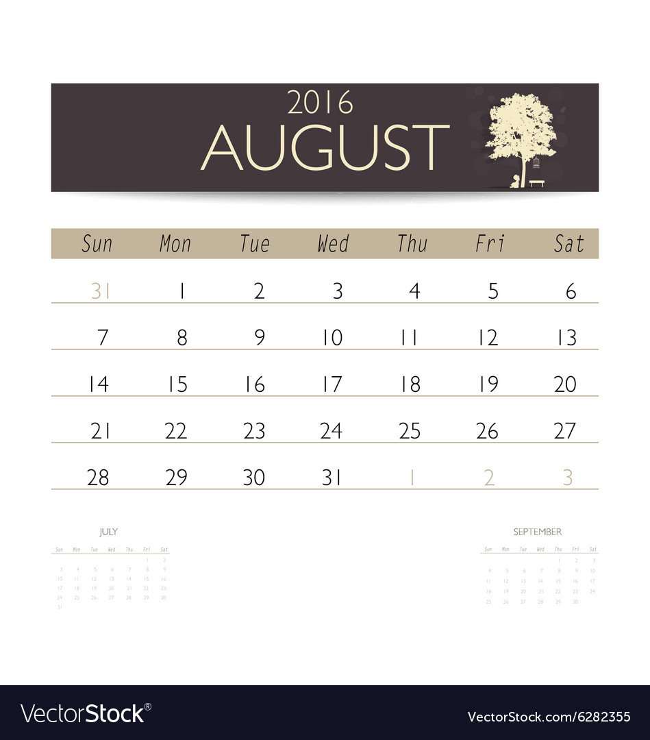 August Calendar Template 2016 from cdn1.vectorstock.com