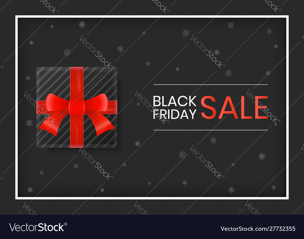 Black friday sale gift box with red ribbon on