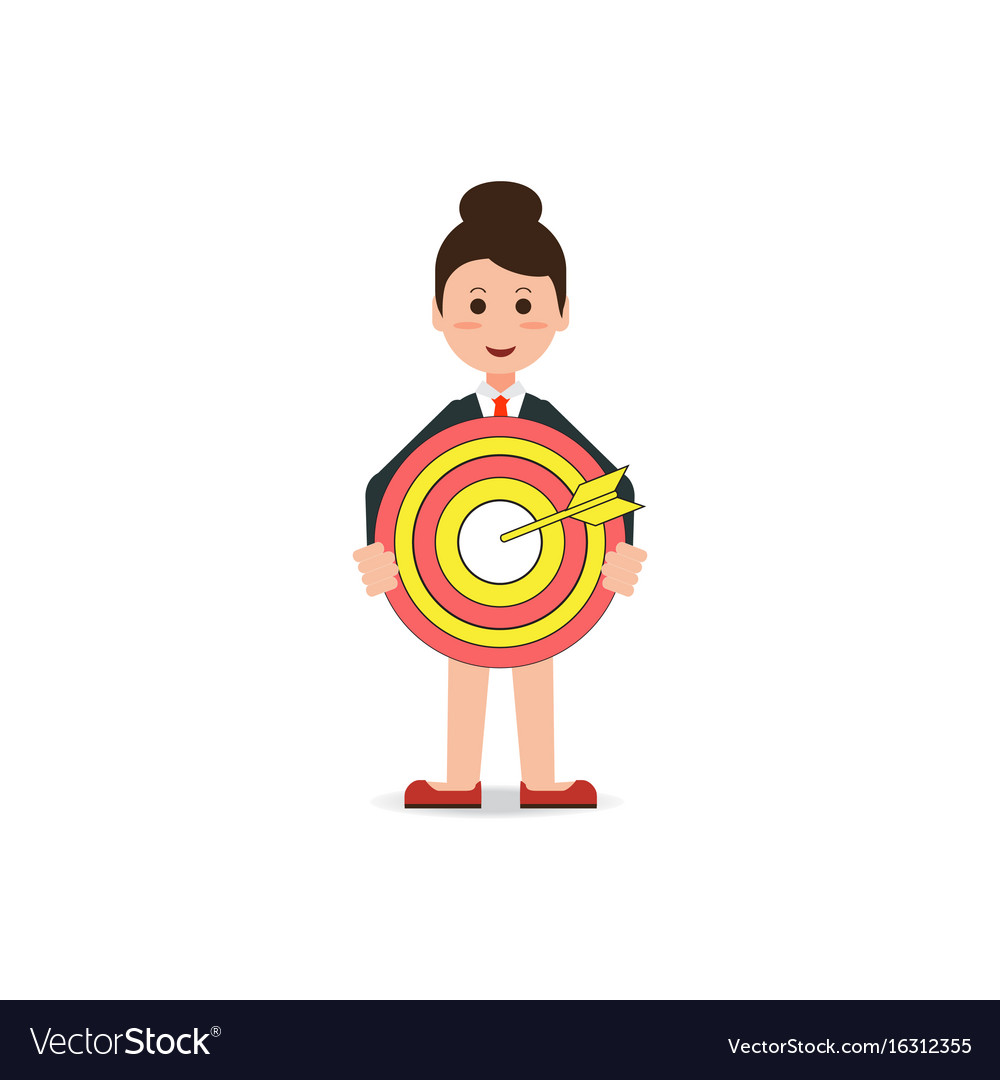 Business woman holding big aim target bravely