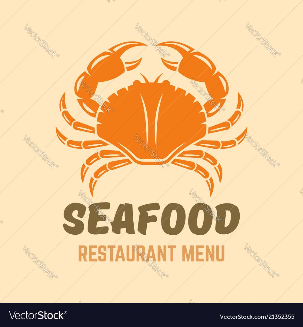 Crab seafood restaurant menu logo template