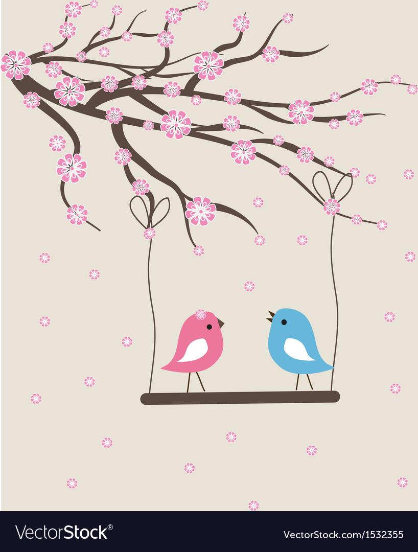 Cute floral spring birds
