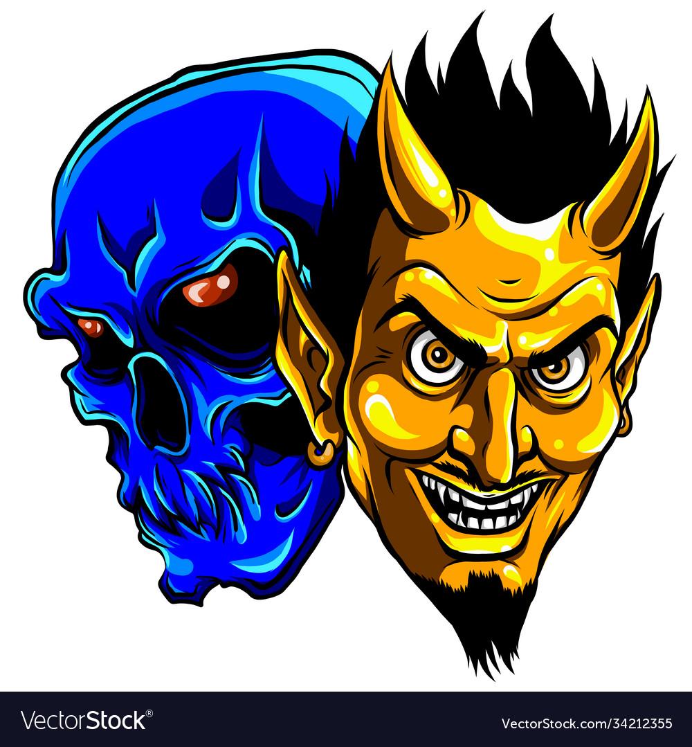 Demon devil and skull head
