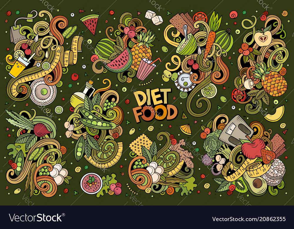 Doodles cartoon set of diet food