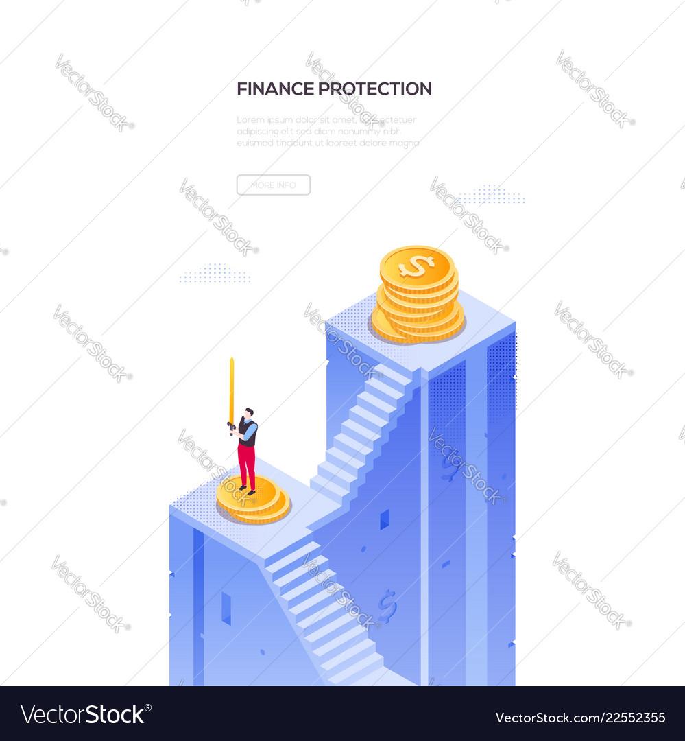 Finance protection - modern isometric web