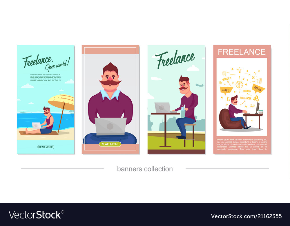 Flat freelance vertical banners