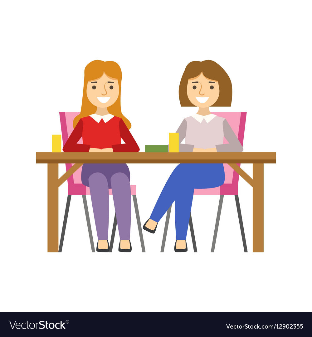 Girlfriends Sitting At The Table Smiling Person