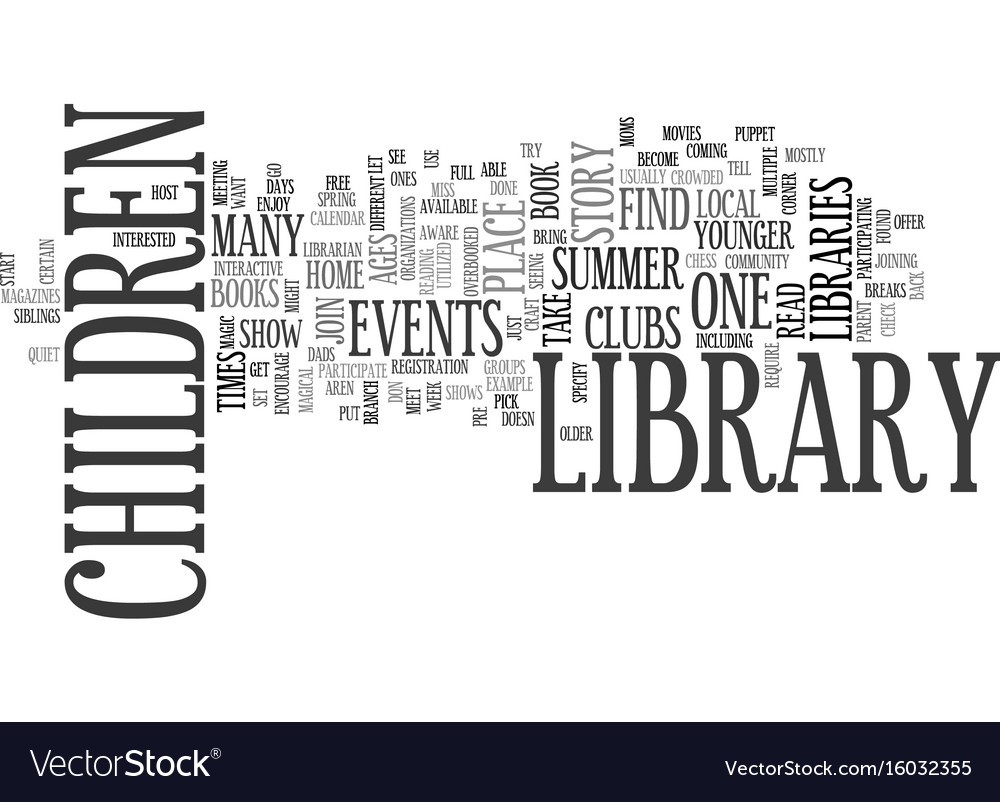 library events text background word cloud concept vector image