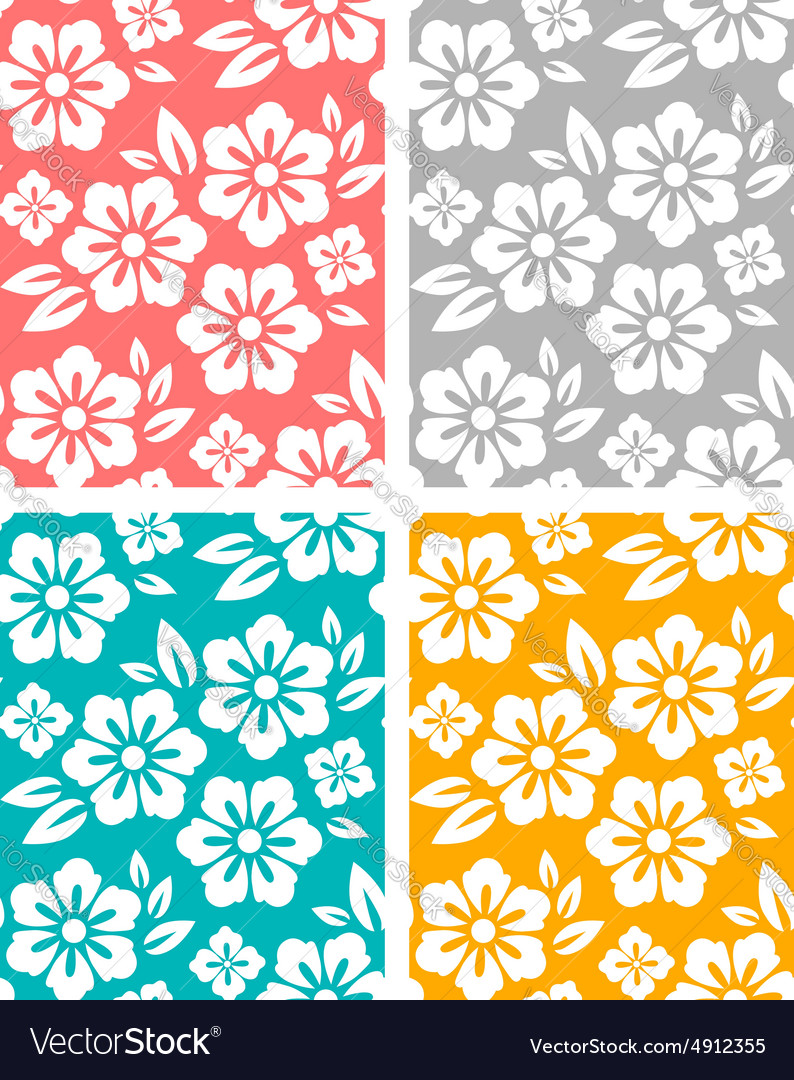 Seamless spring flower patterns vector image