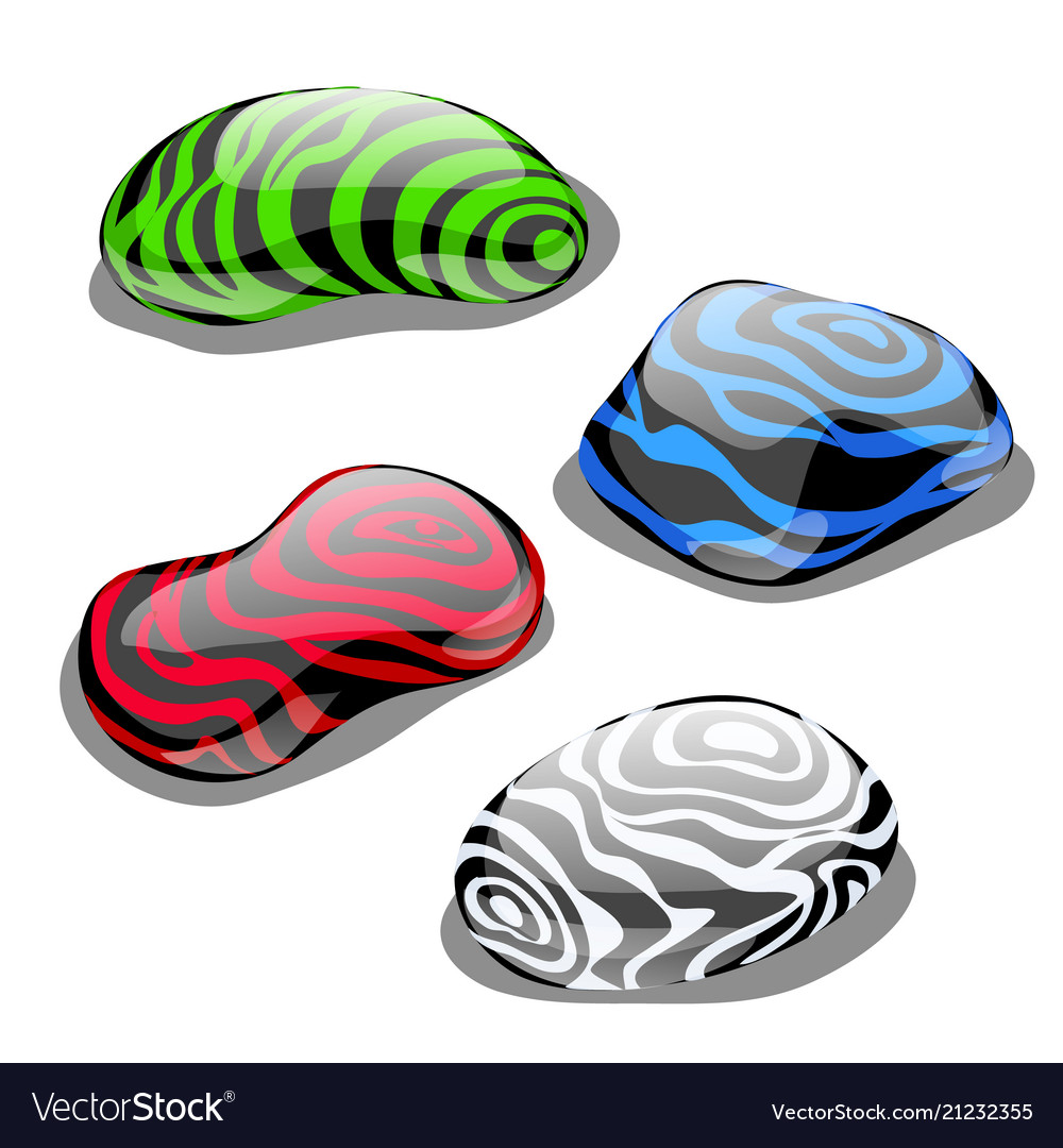 Set of four stones with polished surface and color