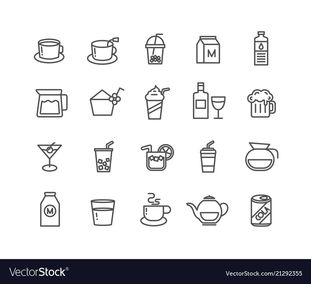 Simple set of beverage thin line icons editable