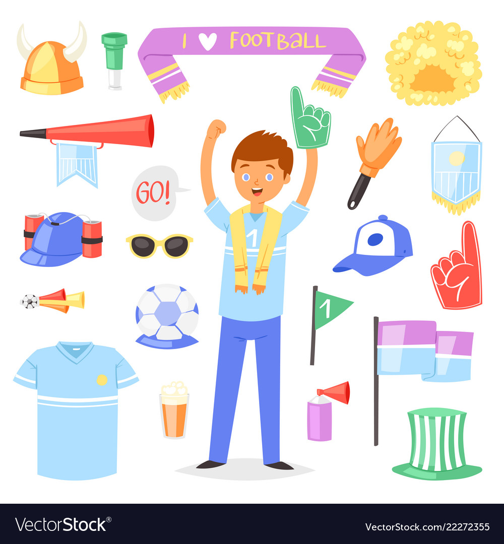 Soccer fan football character people with