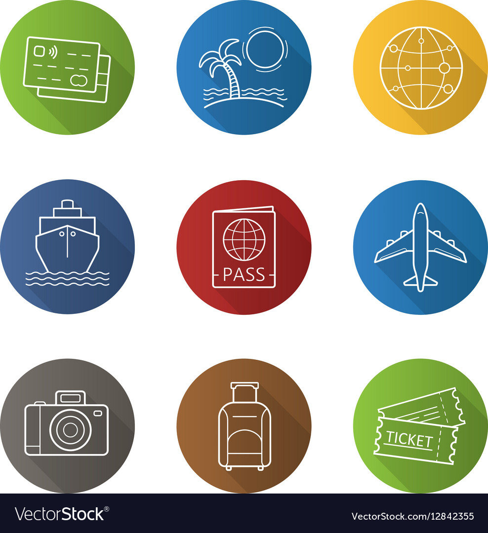 Vacation and travelling icons vector image
