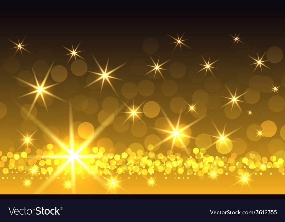 yellow sparkling starburst christmas background vector image