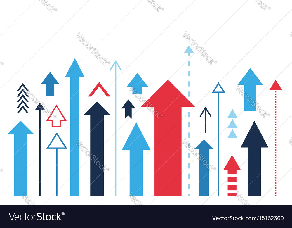 Arrows up increase and success business