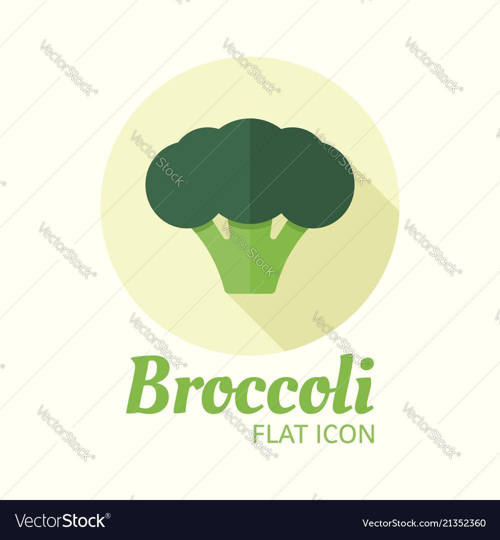 Broccoli isolated flat style round icon