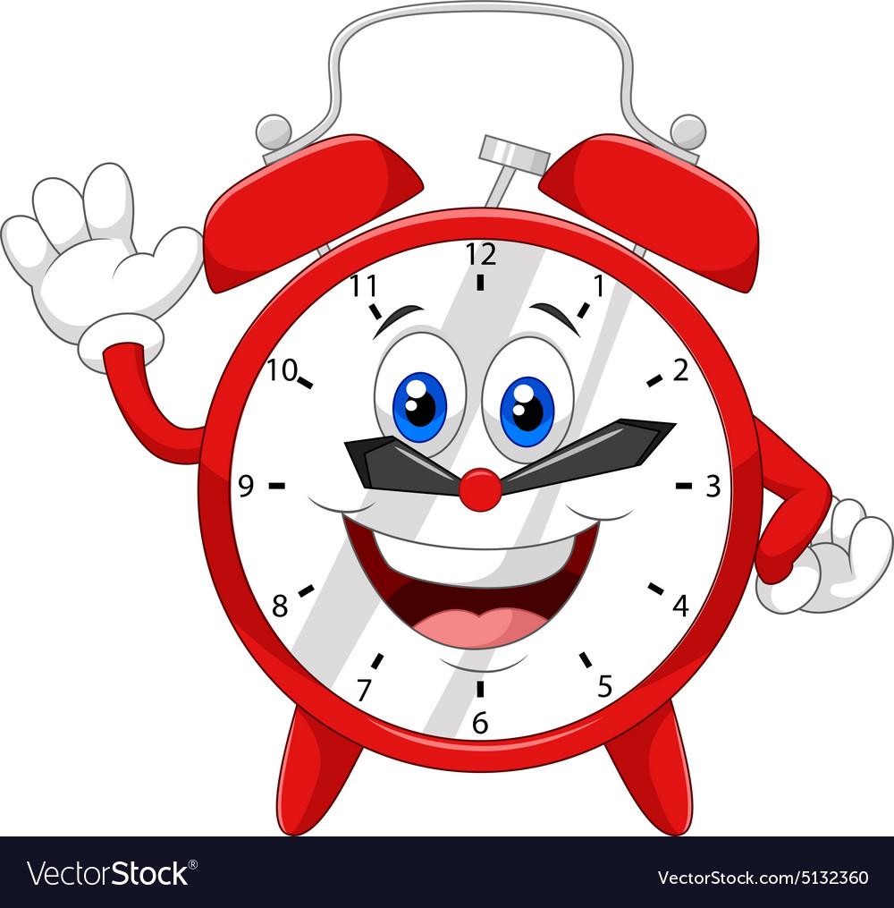 Cartoon Happy Clock Royalty Free Vector Image Vectorstock