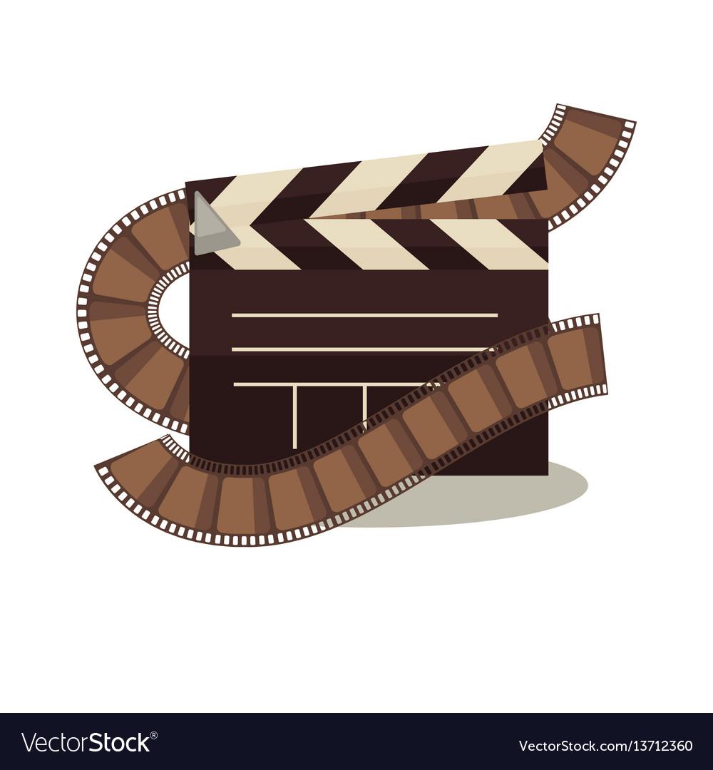 Cinema clapperboard with celluloid elements around