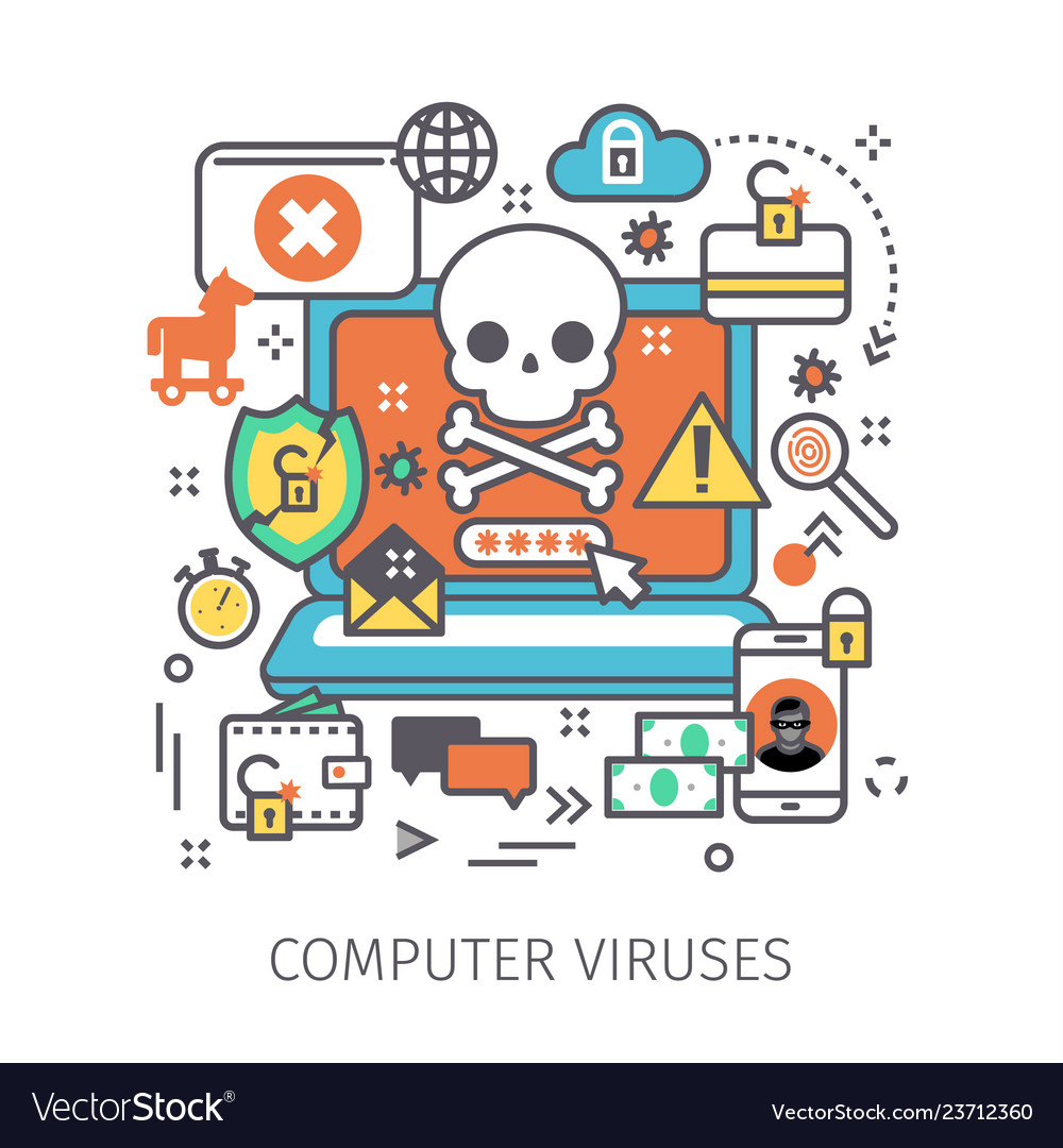 Concept of virus piracy hacking and security