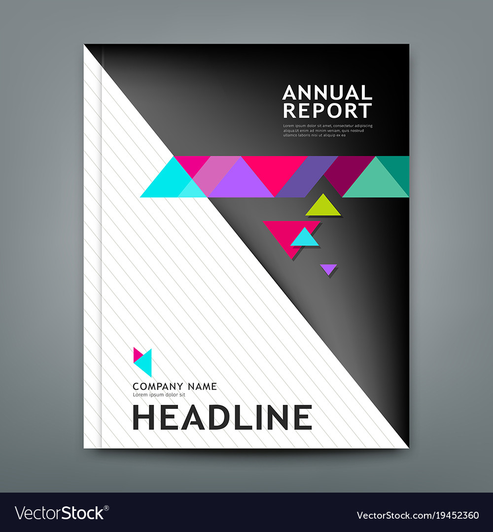 Cover annual report design geometric template lay