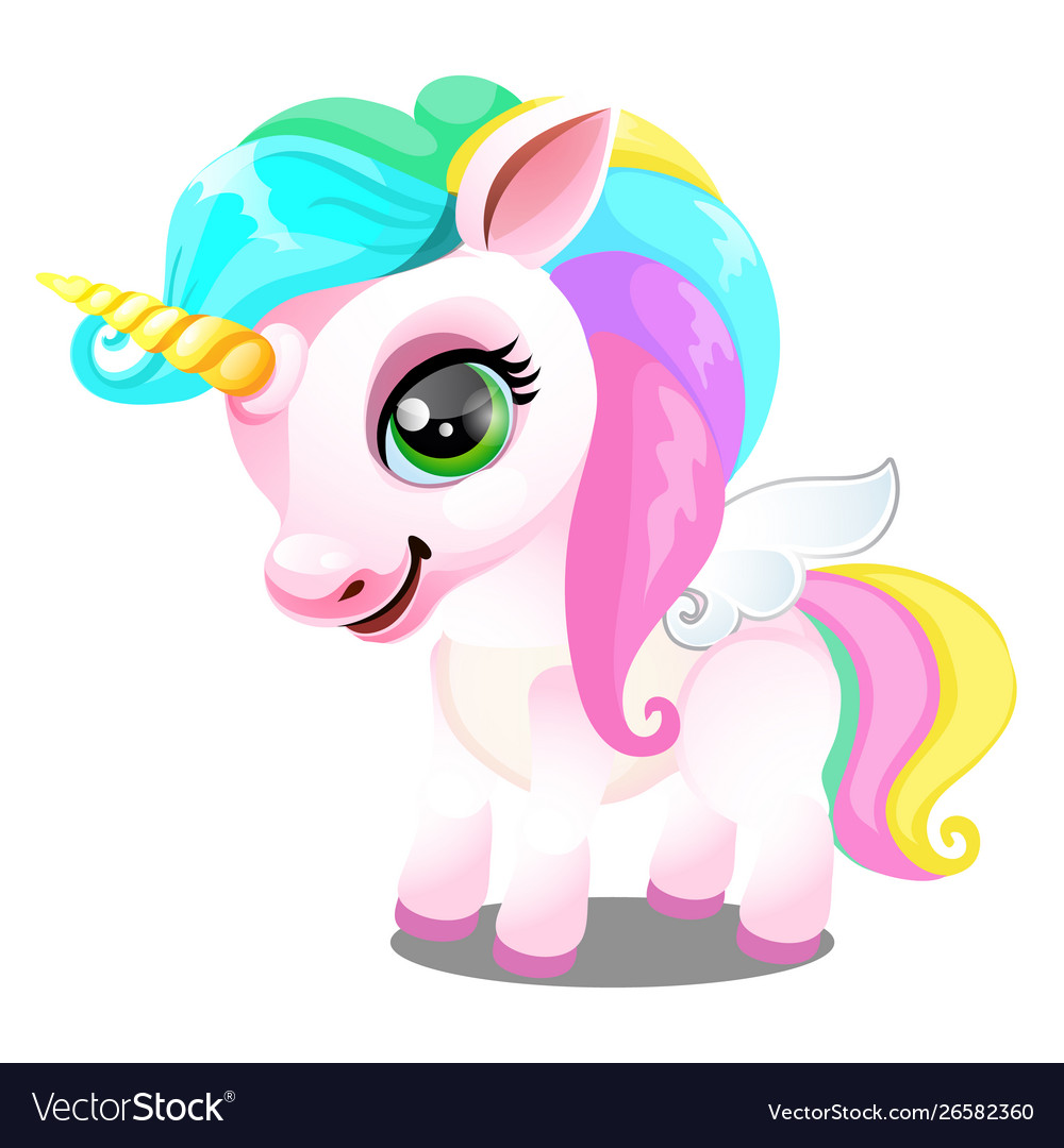 Cute unicorn pony with mane colors rainbow