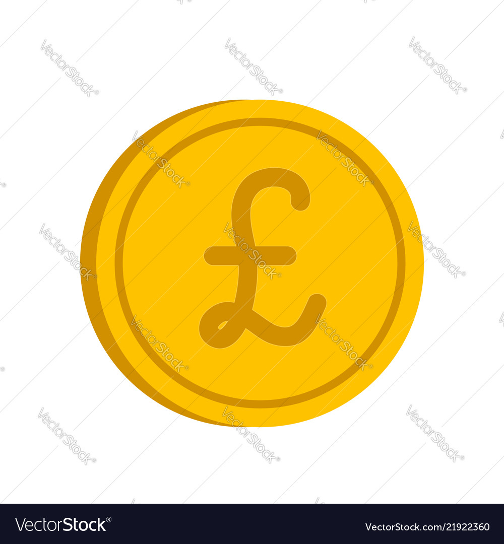 Gold coin with pound sign icon in flat style on a