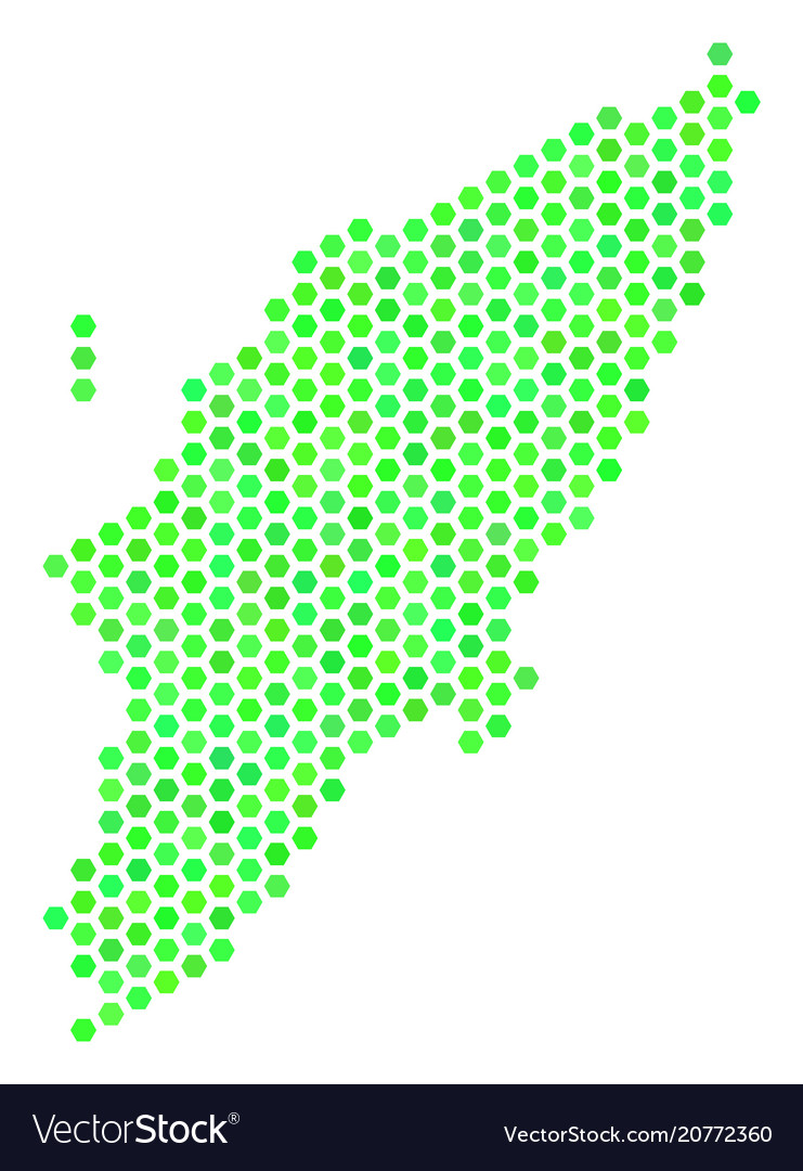 Green hex-tile greek rhodes island map Royalty Free Vector
