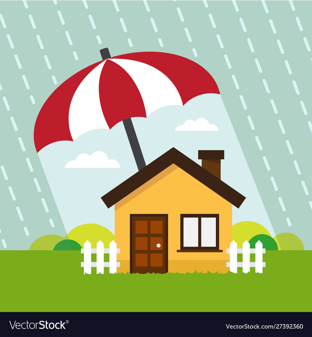 House Under Protect Umbrella Royalty Free Vector Image