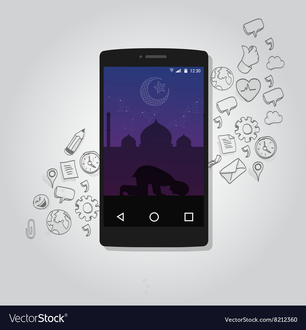 Mobile smart phone apps islam technology muslim vector image