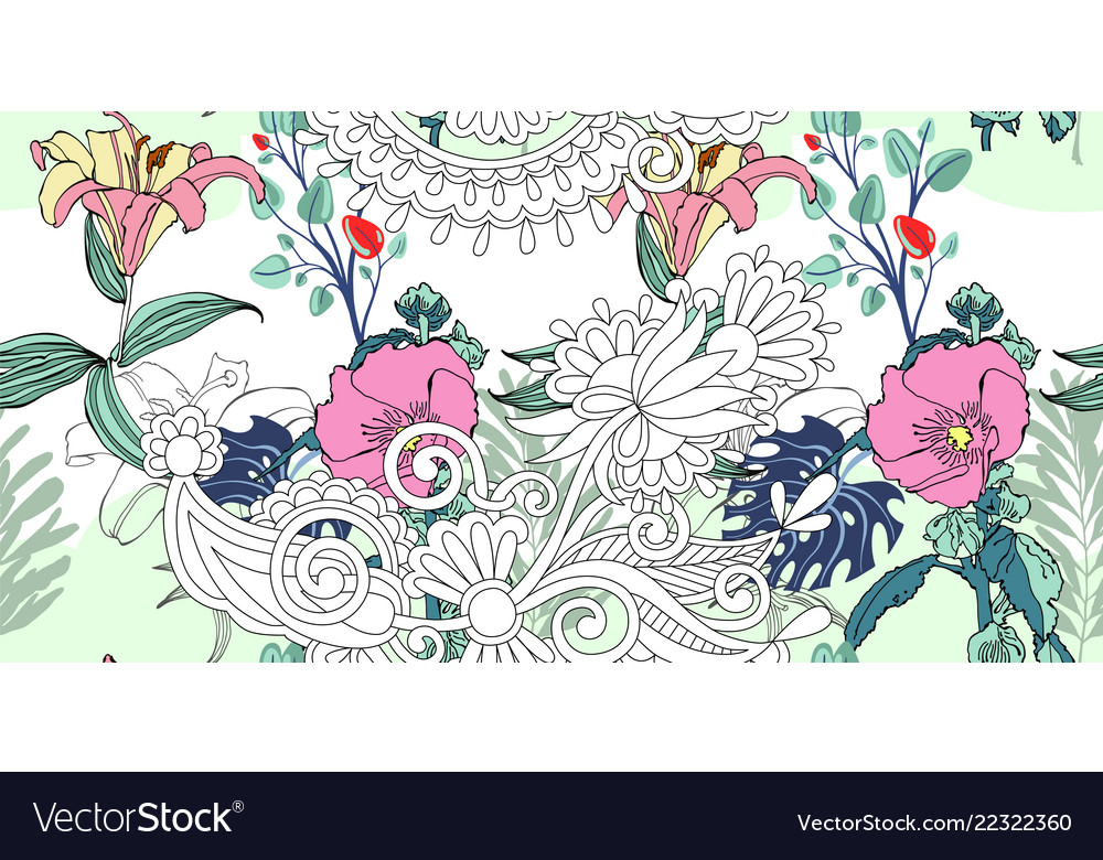 Original trendy seamless artistic flower pattern