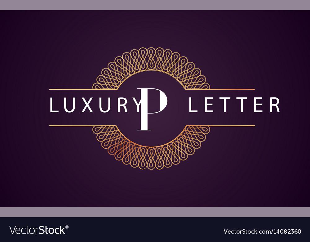 P luxury letter logo golden royal design