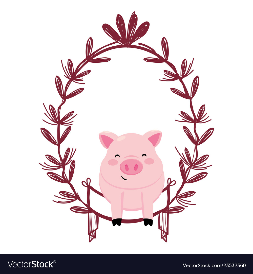 Pig with leaves arrangement