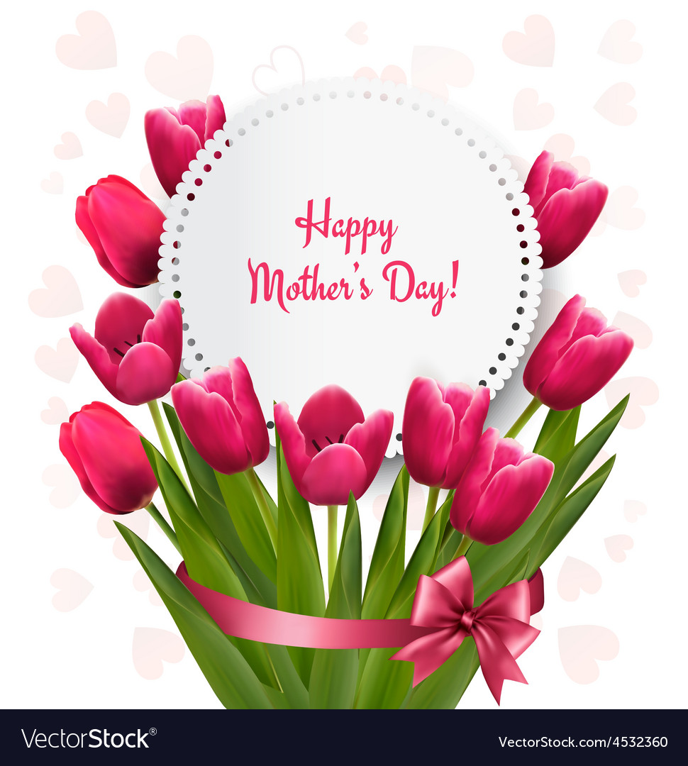 Pink tulips with Happy Mothers Day gift card