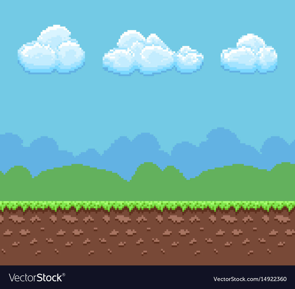 Pixel 8bit Game Background With Ground And