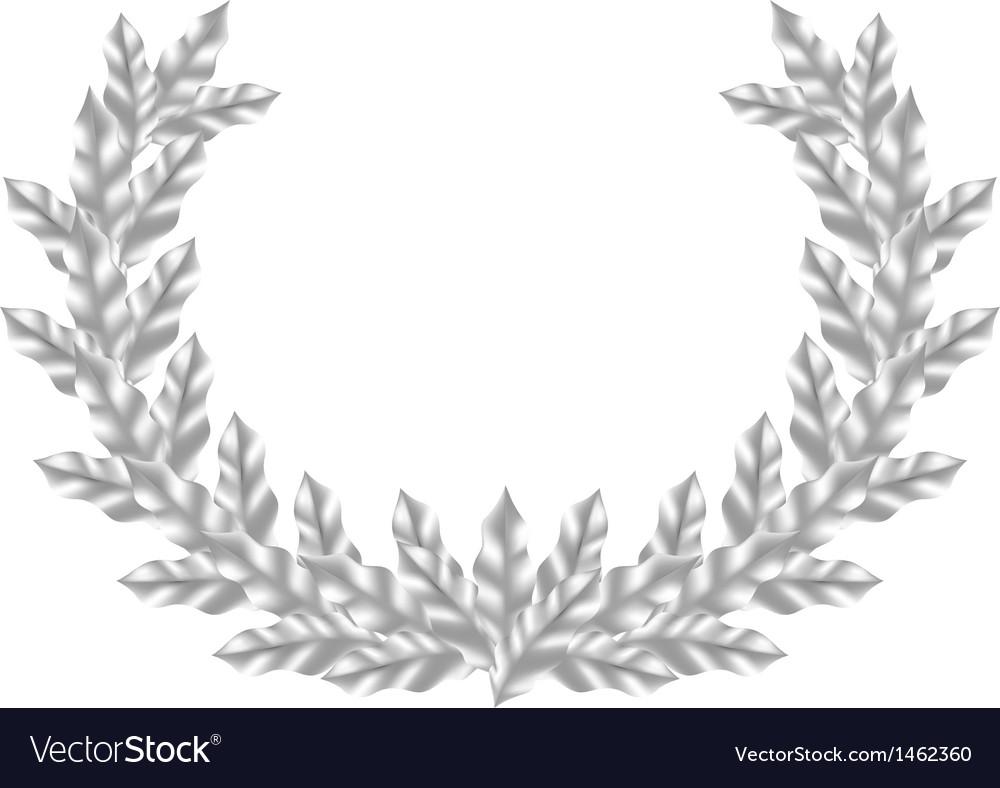 Realistic Silver Laurel Wreath vector image