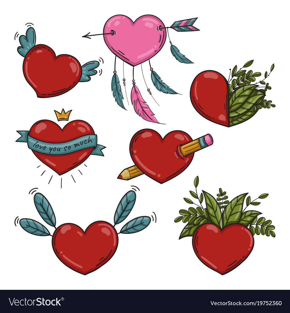 Set of different valentines hearts