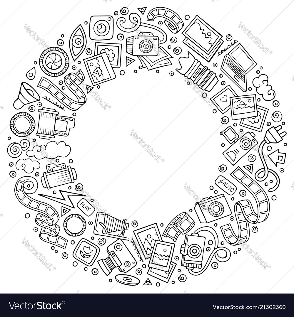 Set of photo studio cartoon doodle objects round