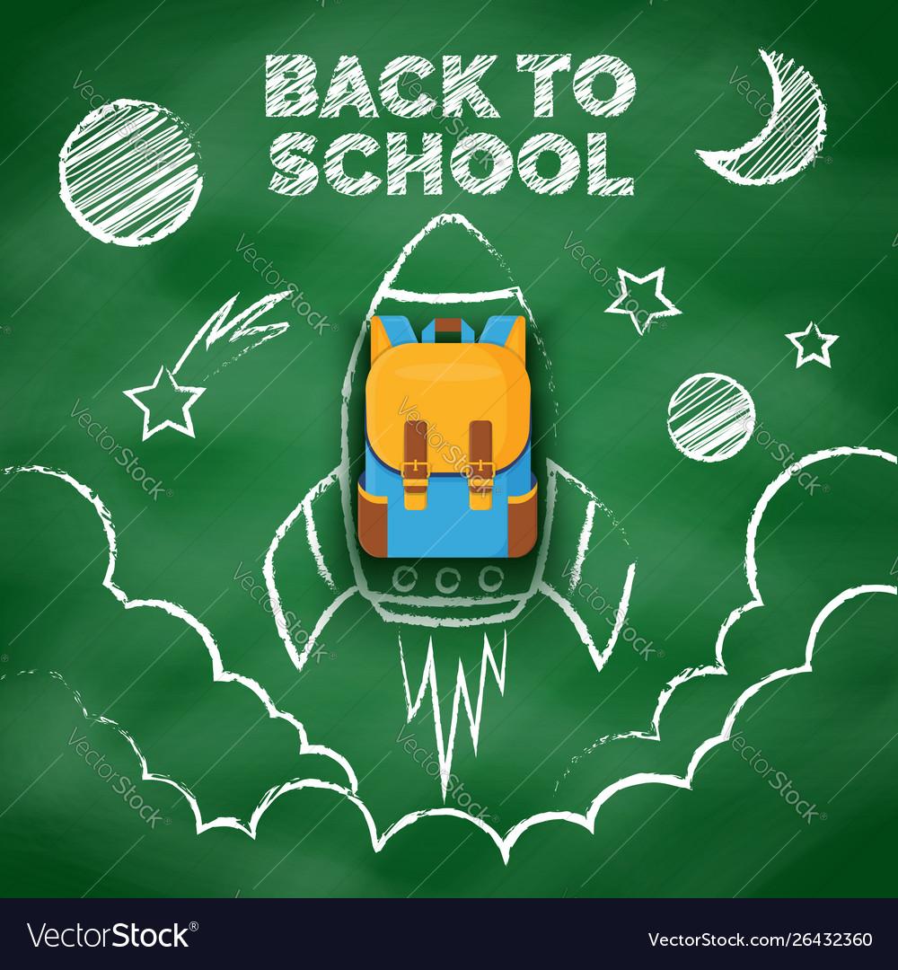 Space drawing with chalk on school blackboard