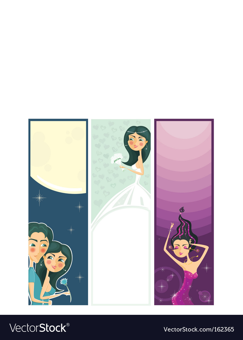 3 banners of cute girls vector image