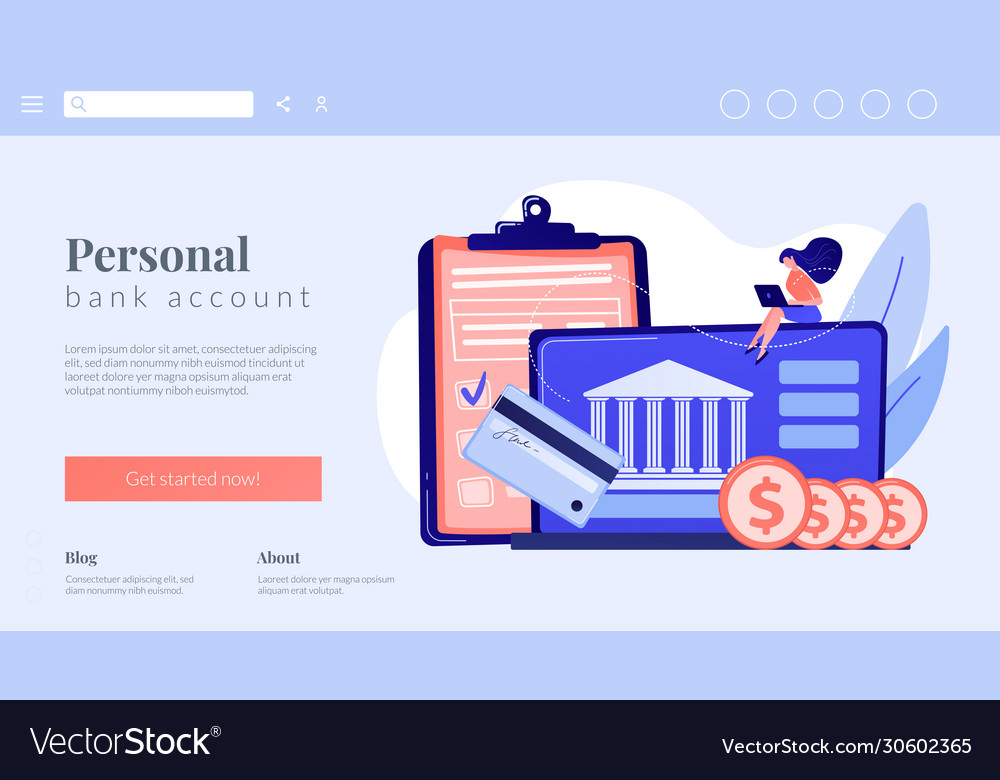 Bank account concept landing page