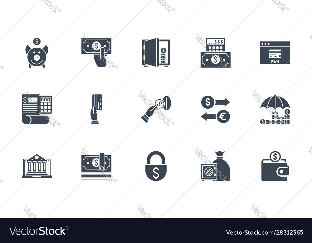 Banking icons set related glyph icons
