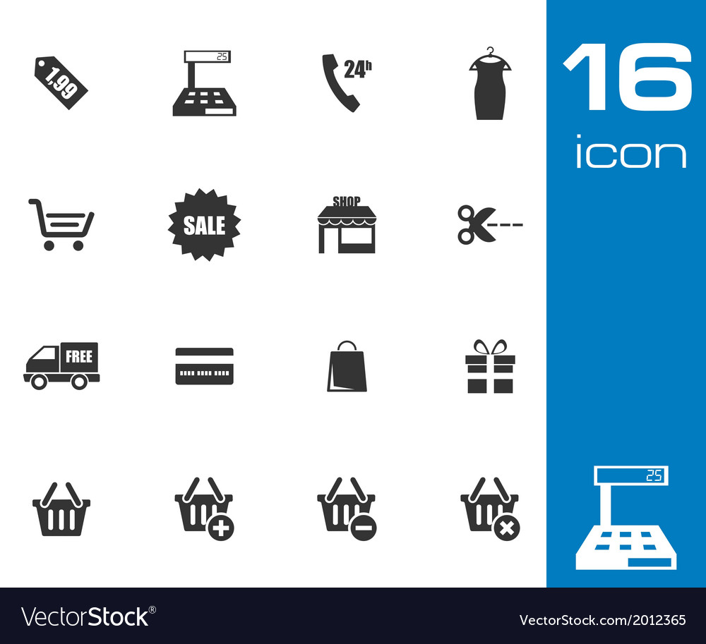 Black shopping icons set