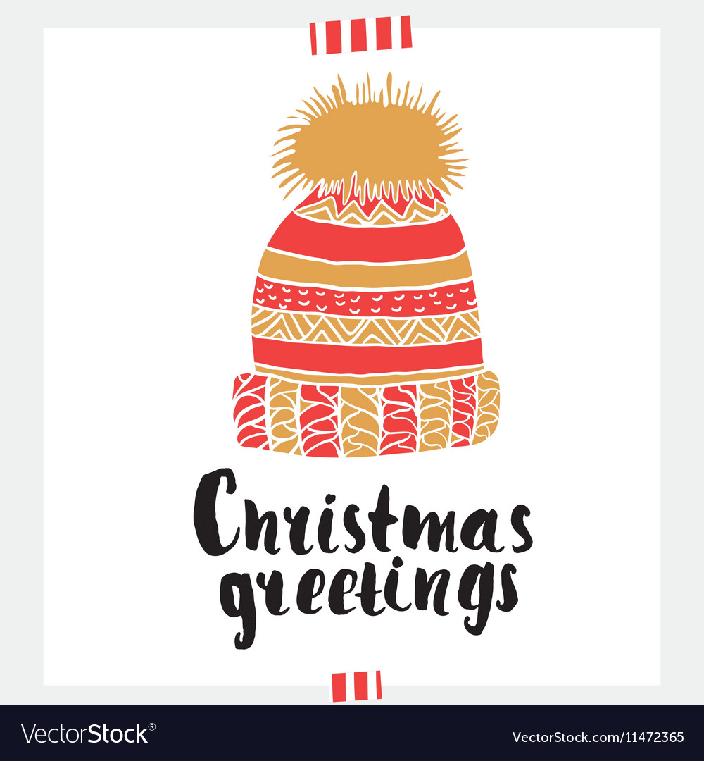 Christmas Greeting Holiday Unique Handwritten Vector Image