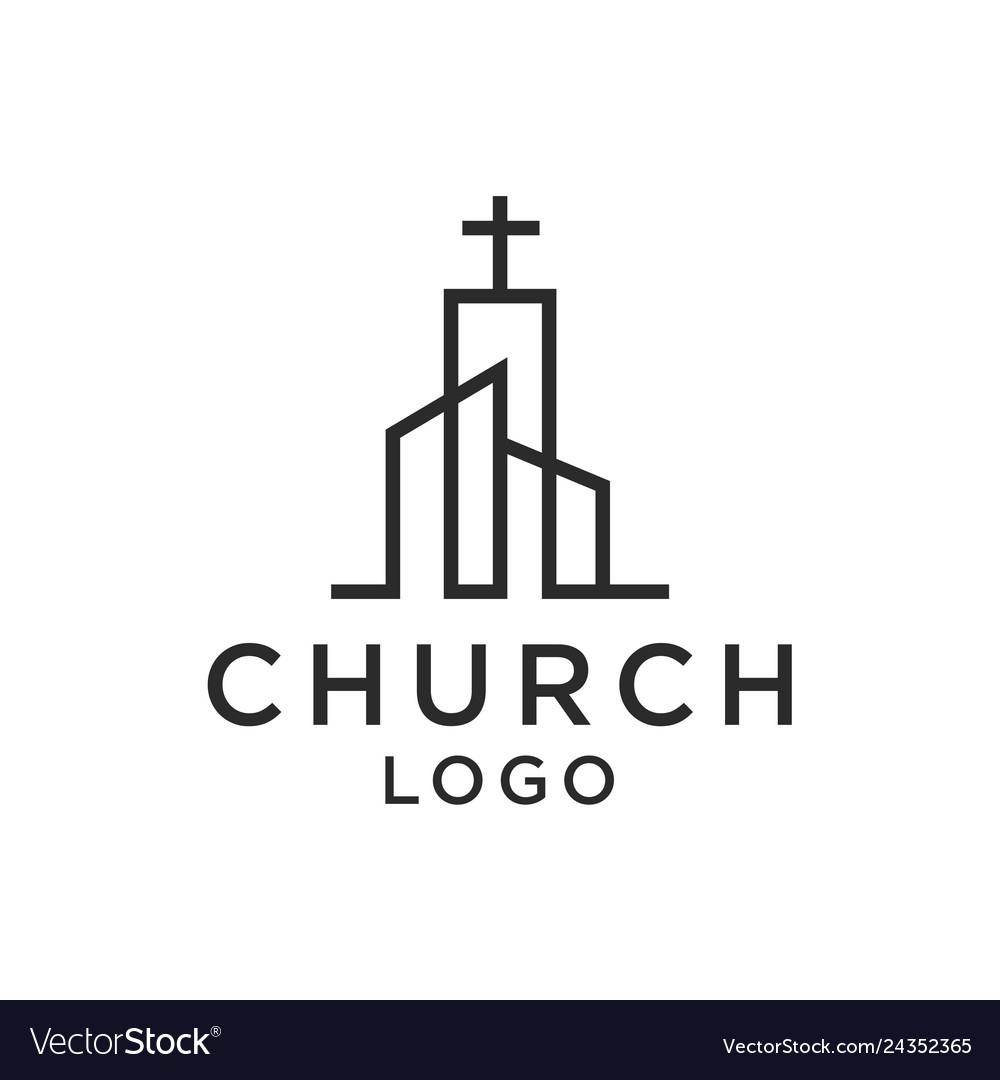 Church christian line art logo design