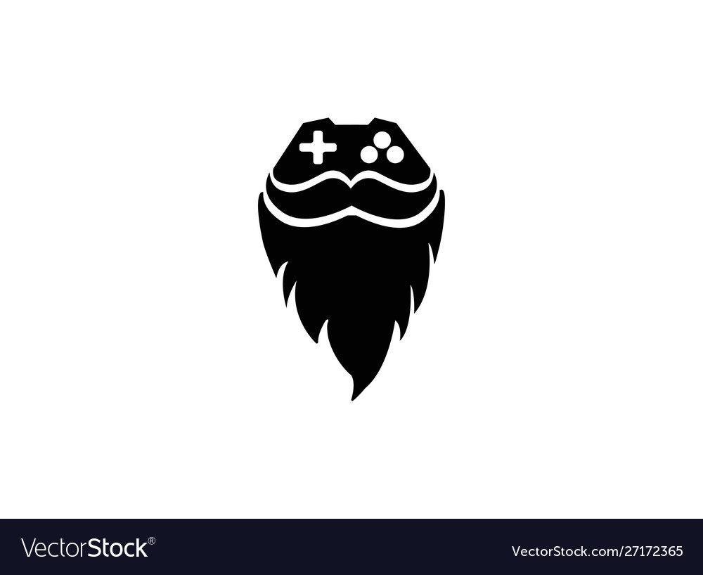 Console gamer and beard mustache face icon