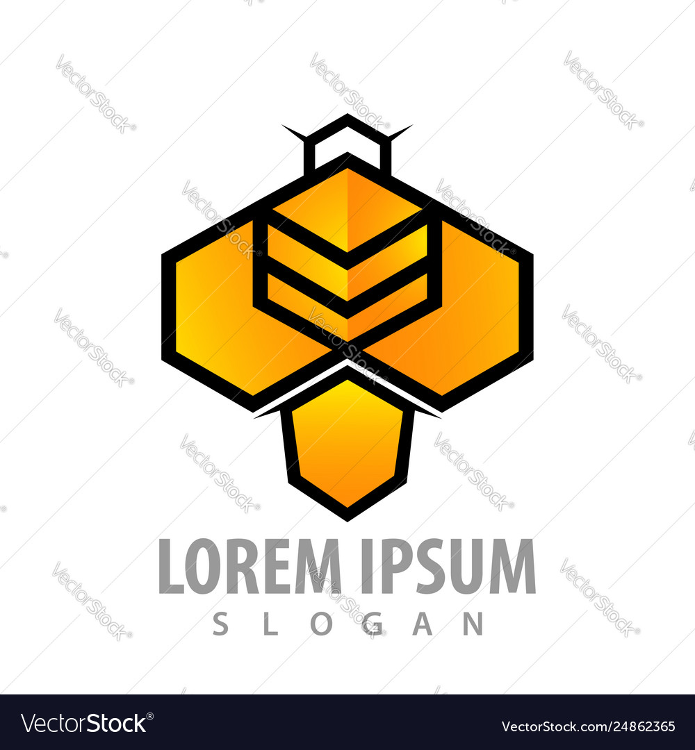 Geometric bee hexagon concept design symbol