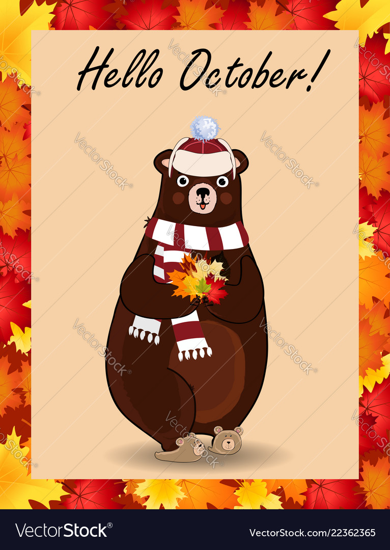 Hello october poster with cute bear in hat and