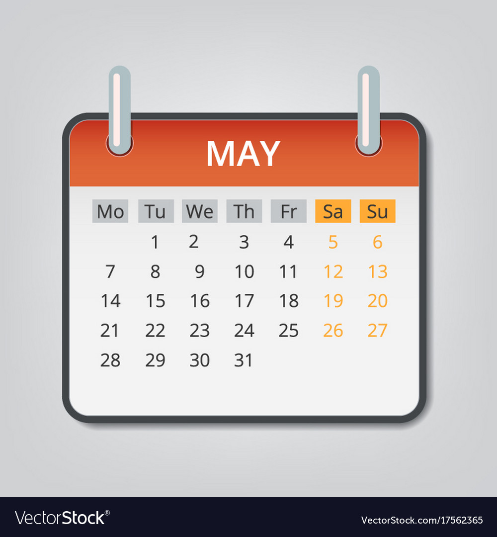 may 2018 calendar concept background cartoon vector image