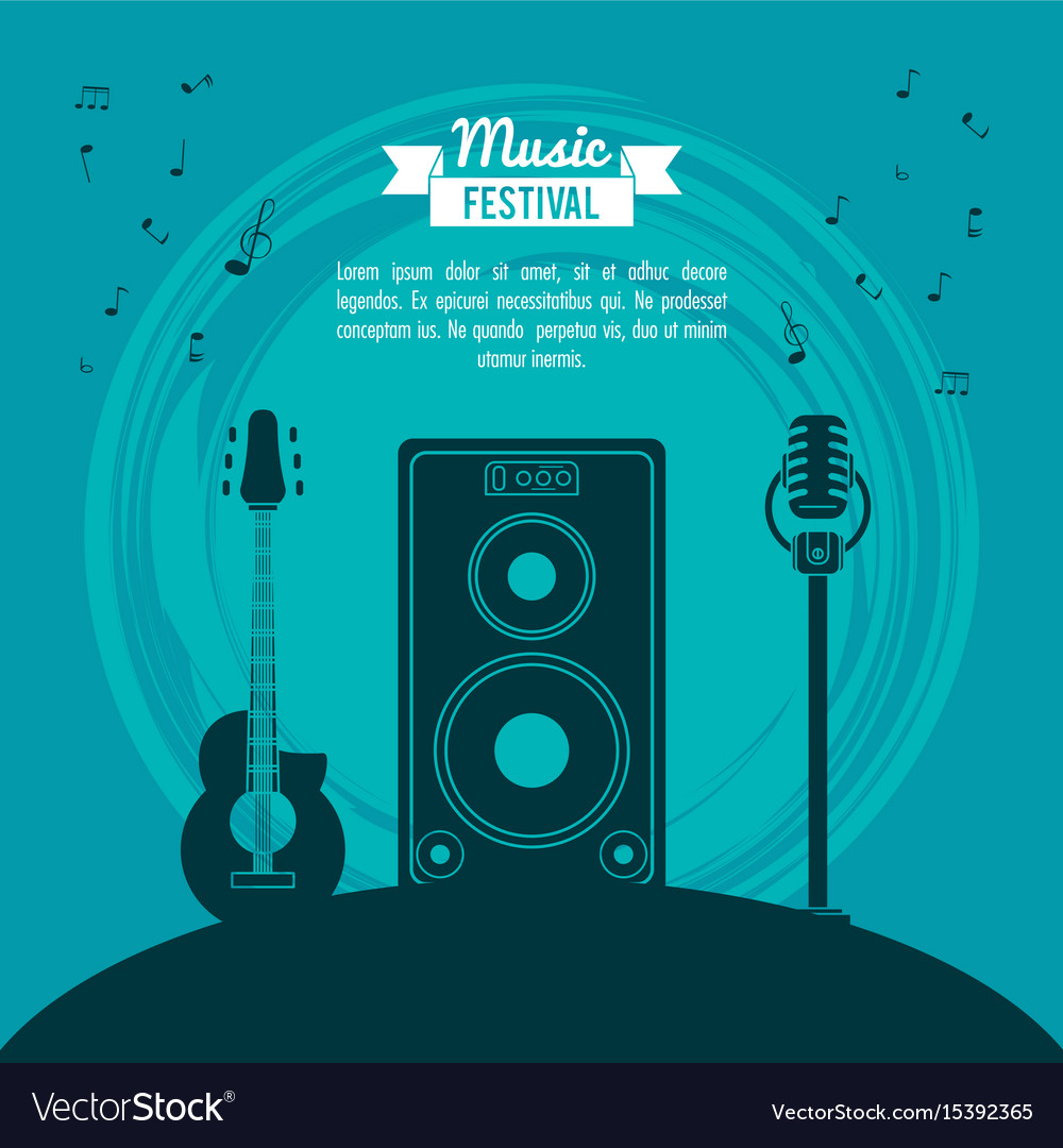 Poster music festival in blue background with