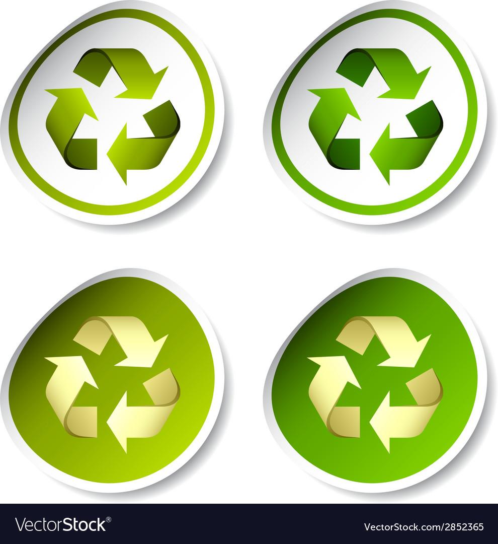 Recycle Stickers Royalty Free Vector Image Vectorstock