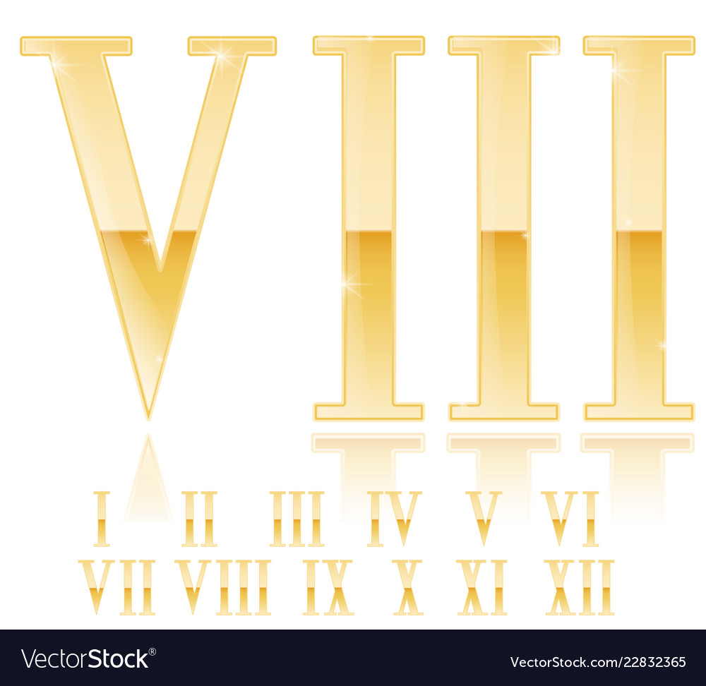 Roman Numeral Eight Golden 3d Sign Royalty Free Vector Image